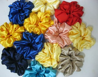 12 Satin Hair Scrunchies Bridesmaid gifts Wedding favors Bridesmaid hair ties Bridesmaid pony tails Bridesmaid gift sets Wedding gift sets