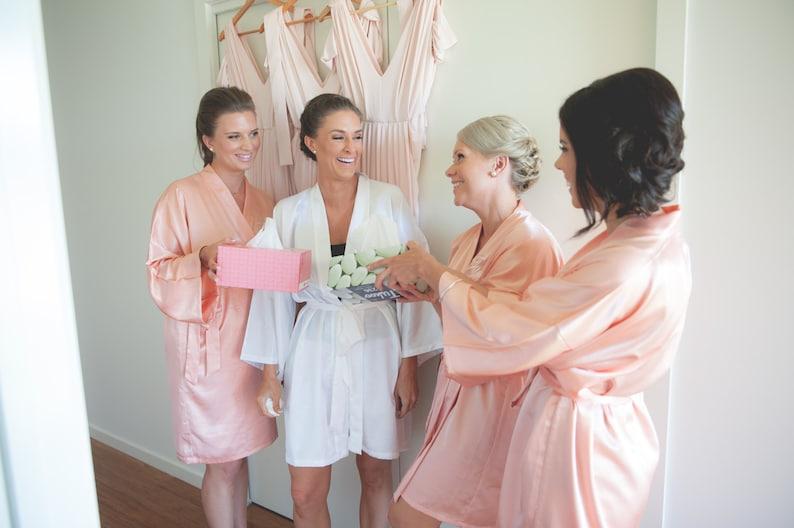 Bridesmaid robes Coral wedding robe Peach bridesmaid silk robe  f07459536