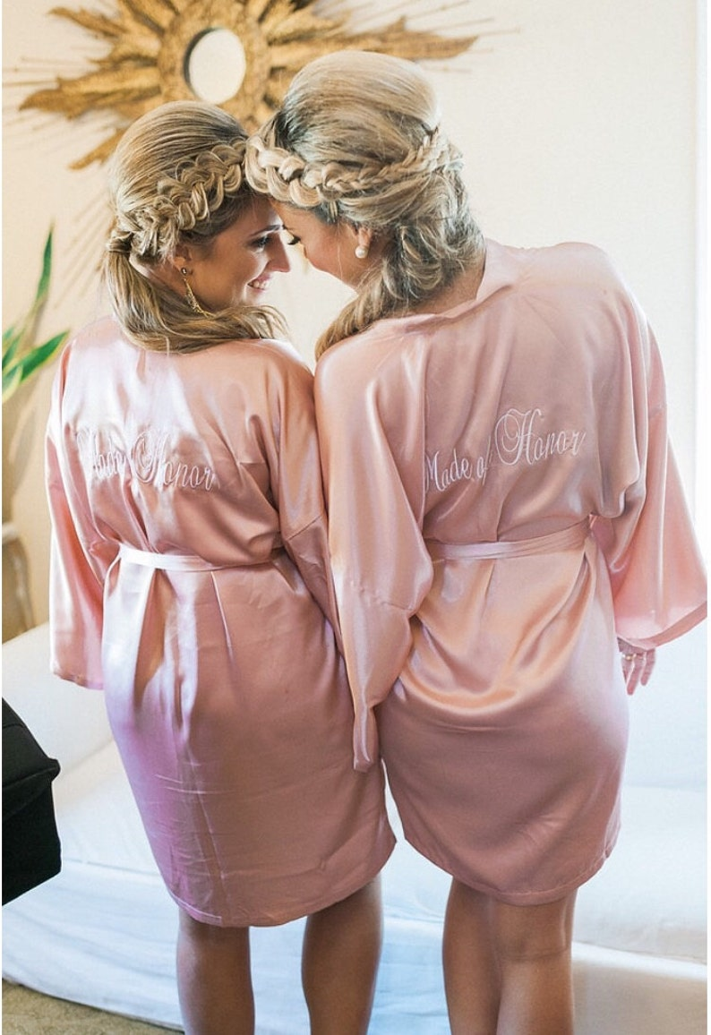 Bridesmaid robes Blush wedding robes pink bridesmaid silk robe dressing gown  personalized silk robe kimono robes embroidered robes cheap kid 519d6aeb4