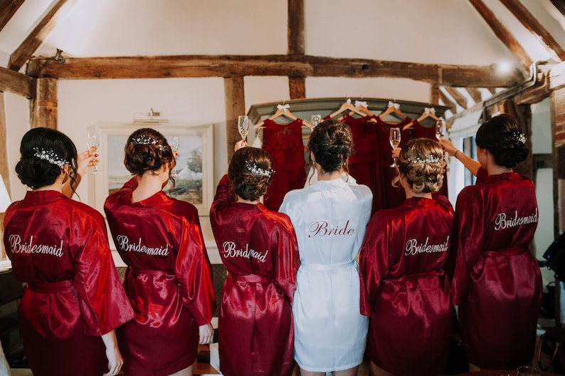 fccb8d9763 PERSONALIZED Bridesmaid robe Red Burgundy wedding robe cheap