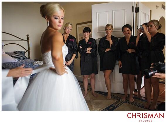 Satin Bridesmaid Robe Black Bridesmaid Dressing Gown White Etsy