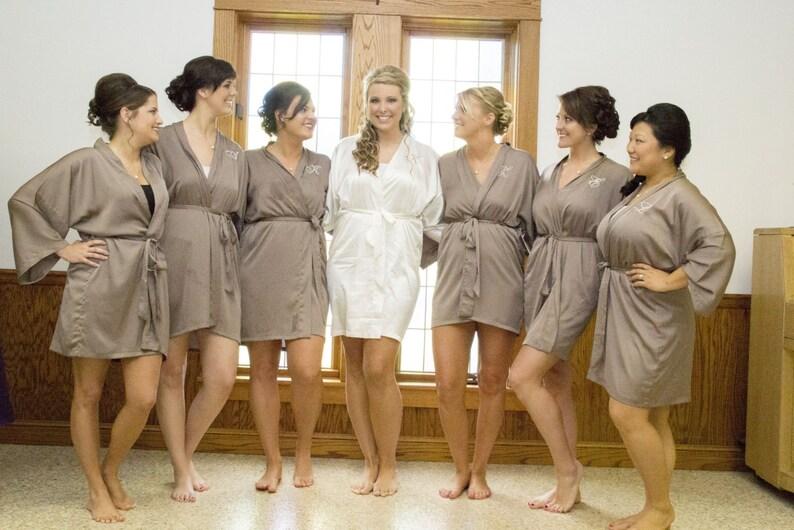 Bridesmaid silk robe Taupe bridesmaid dressing gown personalized robes bridesmaids gift silk satin robe kimono robe dressing gowns gray robe