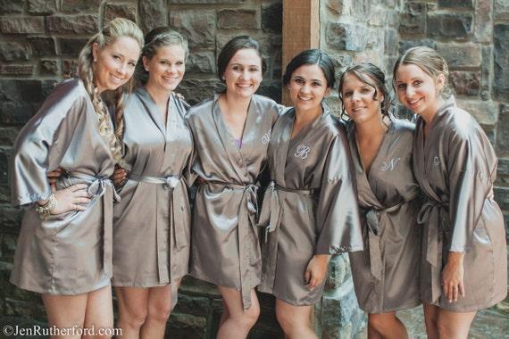 Silk Satin Bridesmaid Robe Grey Bridesmaid Dressing Gown Etsy