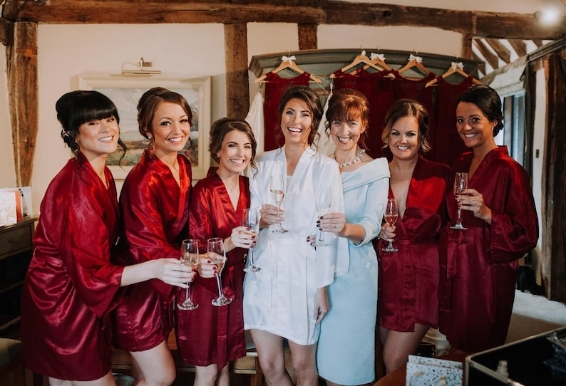 eb0ed6f4bfdb Bridesmaid robes Red Burgundy wedding robe cheap bridesmaid