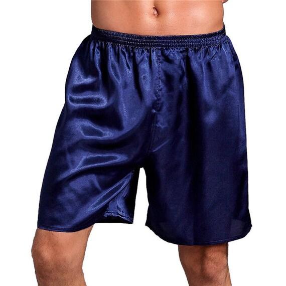 S1-CUSTOM MADE Men silk satin shorts Mens Silk Satin Pajamas Pants Lounge Pants Sleep Bottoms Men Sleepwear Underwear Boxers Shorts
