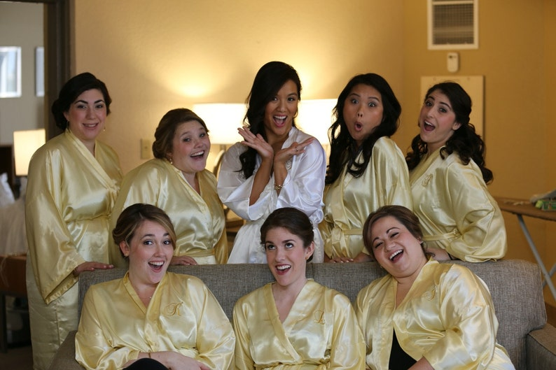 Bridesmaid robes Gold robes Yellow bridesmaid silk satin robes dressing  gown personalized robes kimono robes floral robe wedding gift cheap 2c0c4aebd