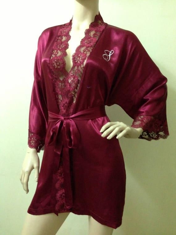 adaac8f014 Silk Satin Kimono Robe in Burgundy Red with Lace Short Kimono