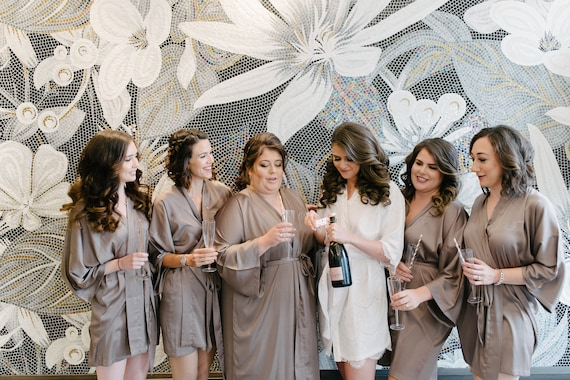 Bridesmaid Silk Robe Taupe Bridesmaid Dressing Gown Etsy