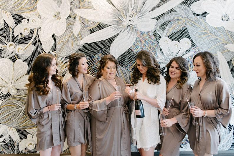 Bridesmaid silk robe Taupe bridesmaid dressing gown  91ead9796
