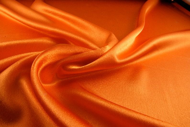 Silk satin Fabric Orange silk Supplies Fabric by yard Silk image 0