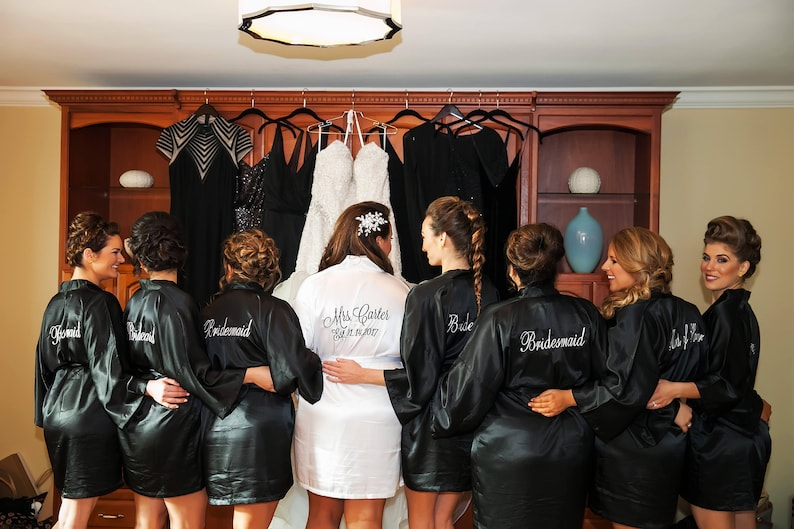 2c692caaad9 Bridesmaid Robes Black wedding robes bridesmaid silk robe