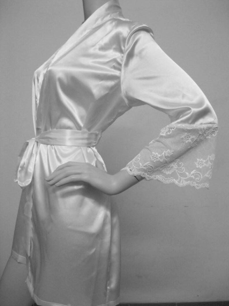b4727c6ed5 Bridal Silk Satin Kimono Robe with Lace White lace robes