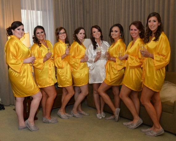Bridesmaid Robes Yellow Gold wedding robes bridesmaid silk robe dressing gown personalized silk robe kimono robes brida