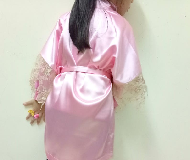 SALE Silk Satin Kimono Robe in PINK with lace trims for Kids  556104d6c