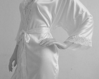 Bridal Robe White ivory lace wedding robe bridesmaid silk robe dressing  gown personalized silk robe kimono robe floral robe bridal robe 557a41a64