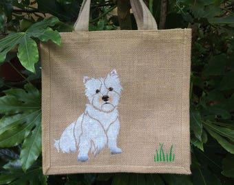 West HIghland Terrier Westie dog hand painted jute bag