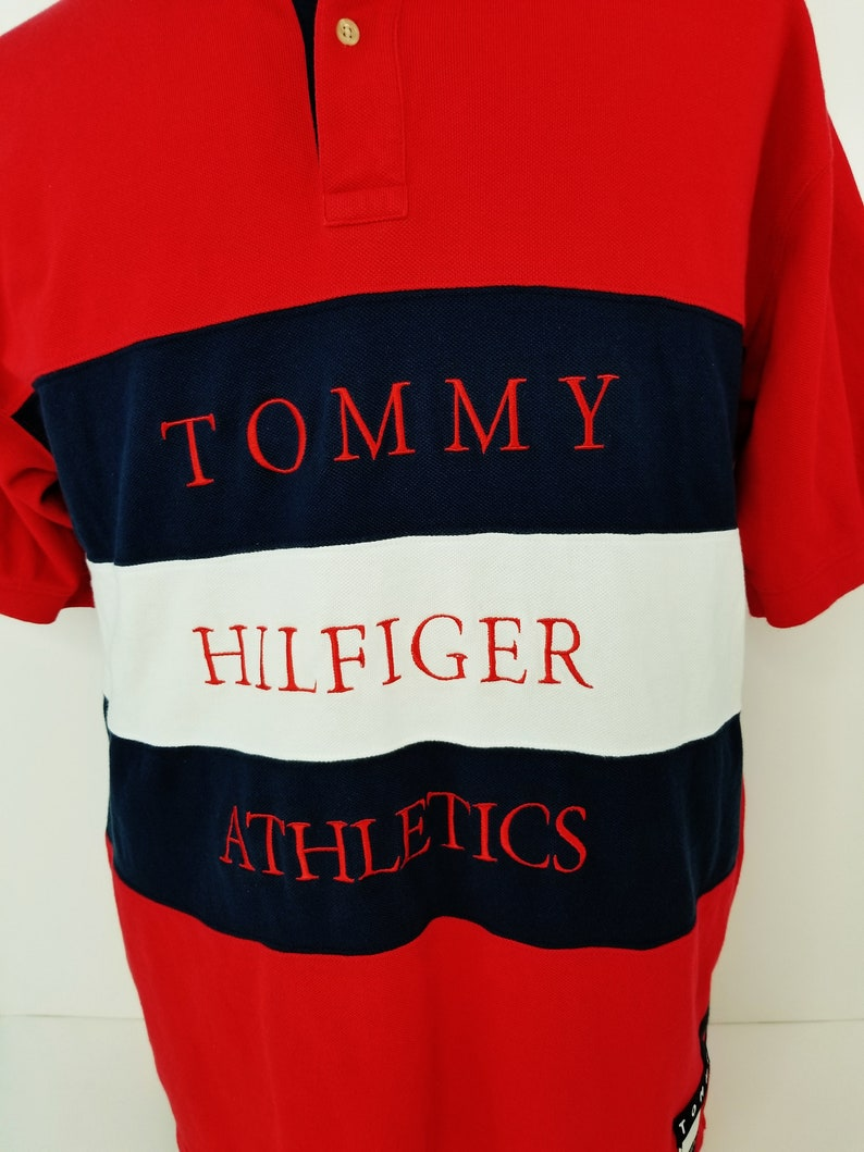 7bea2d91c Vintage 90s Tommy Hilfiger Athletics Spell Out Flag Patch Polo | Etsy