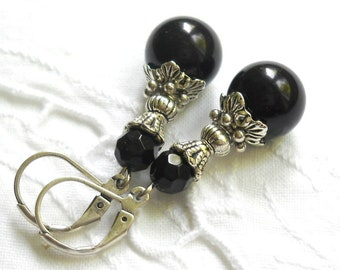 black victorian dangle earrings black earrings vintage style black earrings black jewelry crystal earrings victorian inspired