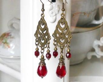 dark red crystal earrings red victorian chandelier earrings vintage style earrings bronze earrings red victorian jewelry vintage inspired