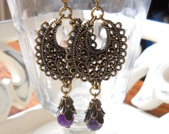 gypsy chandelier earrings purple bohemian earrings gypsy earrings dangle stone earrings bronze filigree bohemian earrings boho earrings