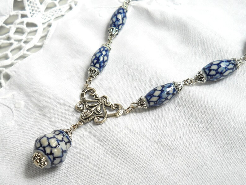 delft blue necklace blue necklace blue and white necklace delft blue style necklace delft blue jewelry