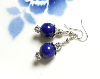 cobalt blue earrings cobalt blue jewelry Delft blue style Delft blue earrings blue dangle earrings blue ceramic earrings