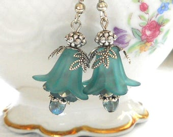 teal flower earrings lucite flower earrings teal floral earrings vintage style silver earrings filigree earrings