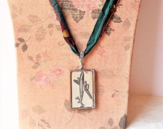 Airplane Motif Pendant Necklace - Mid Century Modern Jewelry - Gift for Travelers - Framed Glass Pendant -