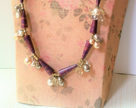 Aubergine  Paper Bead Necklace - Eco Friendly Jewelry Gift for Women - Wedding Bridal Jewelry
