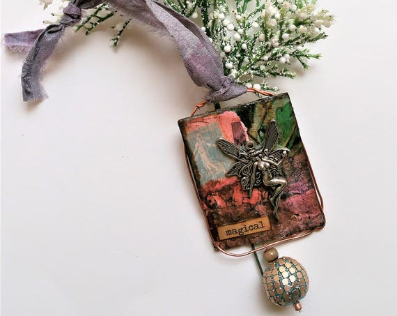 Fairie Mixed Media Christmas Ornament - Paper Ornaments - Xmas Decorations - Festive Home Decor - Christmas Tree Jewelry