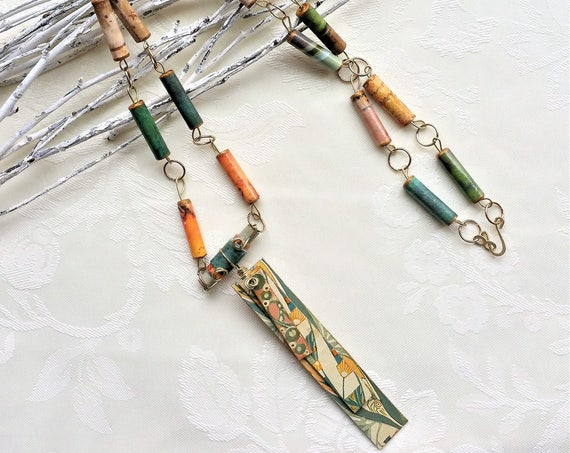 Paper Bead Chain Necklace with Art Nouveau Pendant - Green and Orange Necklace - Beaded Necklace for Women - Colorful Jewelry - Gift for Her