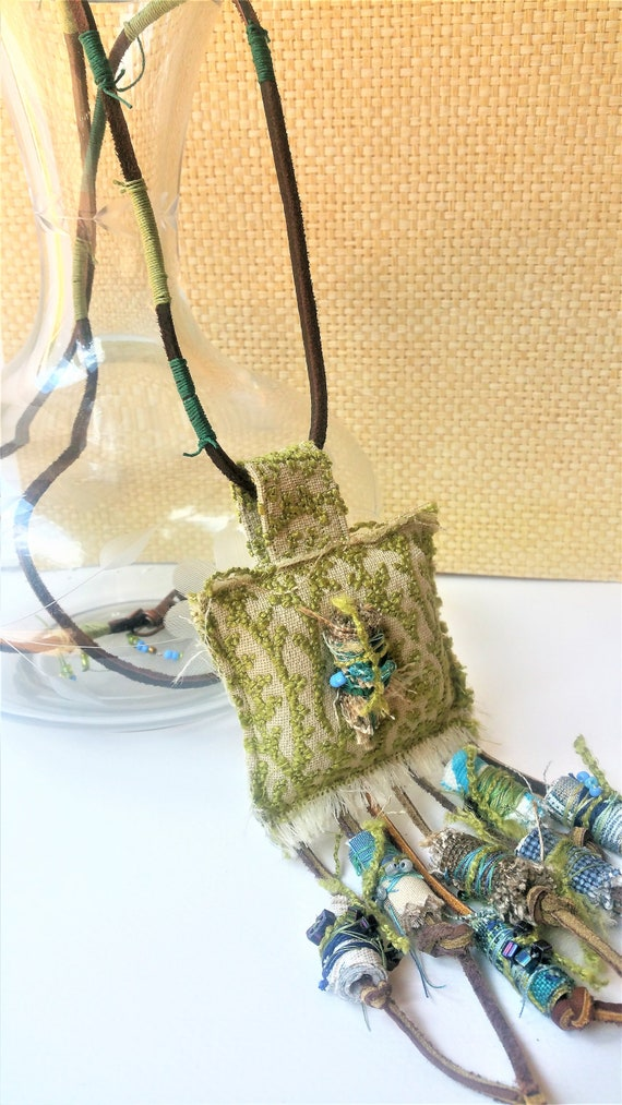 Textile Art Pendant Necklace - Wearable Fiber Jewelry - Boho Chic Necklace - Green Textile Statement Necklace - Mix and Match Trend
