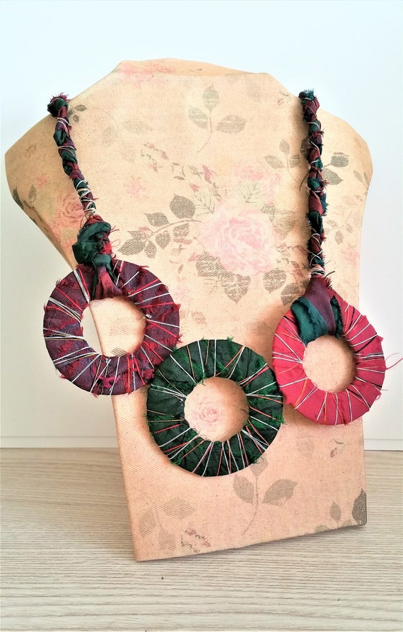 Sari Silk Ribbon Circle Bib Necklace - Textile Jewelry for Women - Statement Neckace Gift for Mom - Fall Jewelry Trends