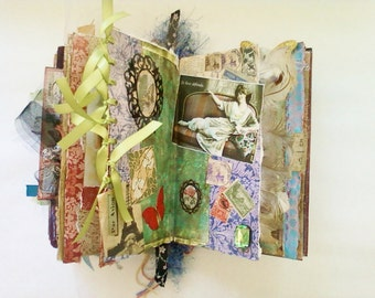 Antique Imagery Altered Book, Mixed Media Journal, Handmade Books,