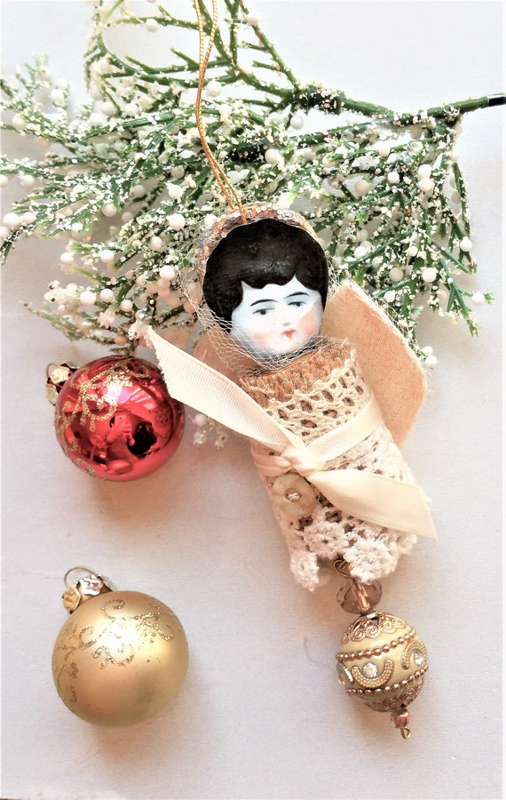 Fabric Angel Ornament - Victorian Inspired Christmas Angel Tree Decor - Doll Ornament - Christening Ornaments - Ornaments for Little Girls
