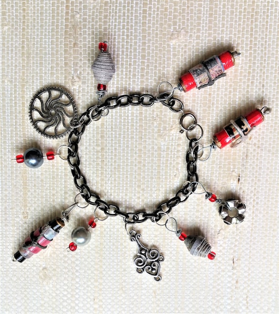 Paper Bead and Metal Charm Bracelet - Red and Pewter Jewelry for Her - Mix and Match Bracelet - Eco Friendly Jewelry - Steampunk Inspired
