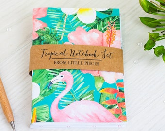 Tropical Notebook Set | A6 Handmade Journal | Flamingo | Floral | Stationery | Gift | For Her