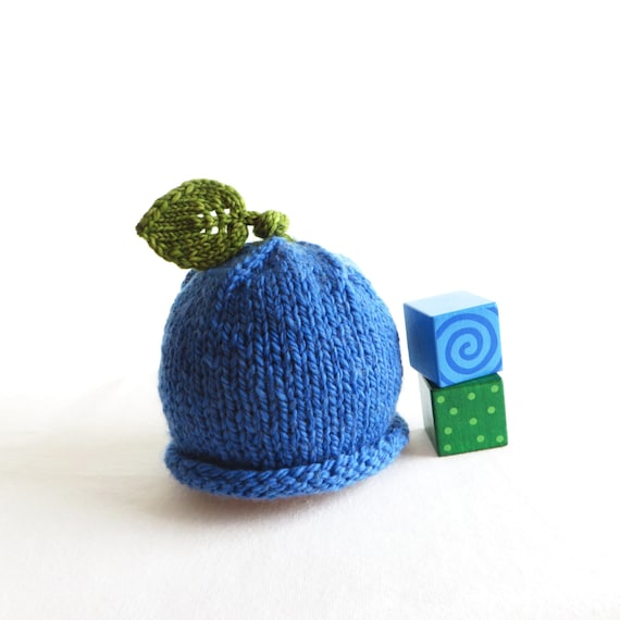 Blueberry Hat  Soft Hand Knit  Baby size  Ready to Ship