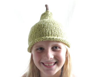 Ripe Pear Hat - Child Size - Organic Cotton Hand Knit - Ready to ship - Free domestic shipping