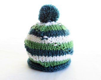 Bright Green Blue Green White Stripe Baby Hat - Pompom - Soft Hand Knit - Baby size - Ready to Ship