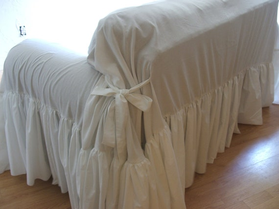 White Sofa Slipcover Shabby Chic Sofa Ruffled Slipcover Sofa Etsy