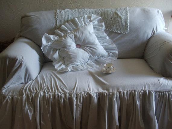 White Sofa Slipcover Shabby Chic Sofa Ruffled Slipcover Sofa Scarf Cottage Decor Farm House Decor