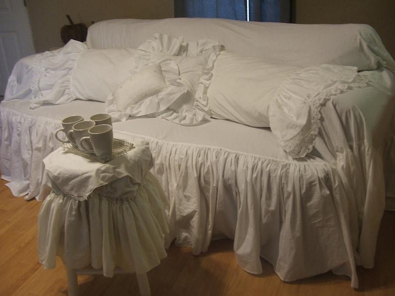 Slipcoverwhite Slipcover Ruffled Slipcoversofa Slipcover Couch Covershabby Decorcottage Decorfarmhouse Decor