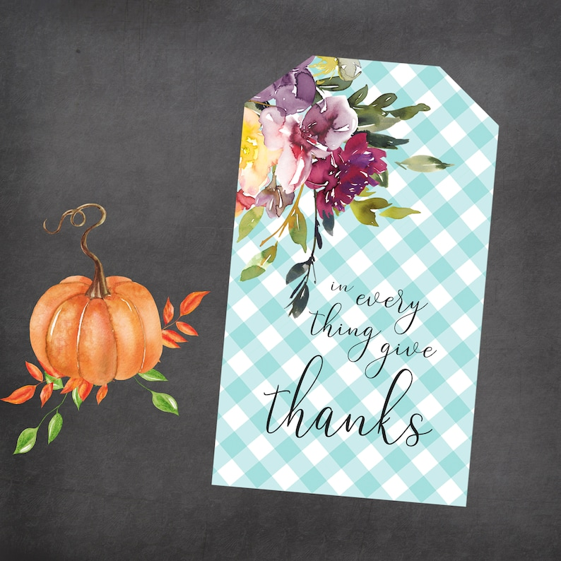 Fall Floral Give Thanks Gift Tags image 0