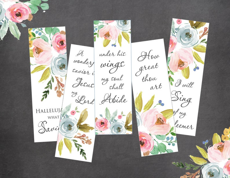 Christian Printable Bookmarks kit Hymns image 0