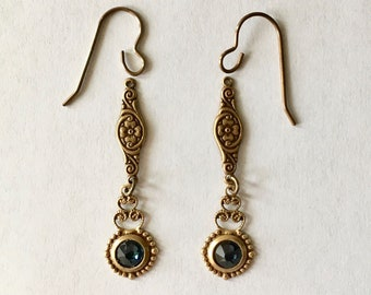 Ornate Setting Swarovski Crystal Montana Floral Stamping Pierced Earrings