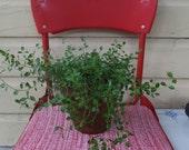 Vintage Nautical Boat Fishing Camping Stadium Retro Red Vinyl Metal Folding Seat Chair Garden Plant Stand