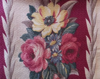 Vintage Cottage Garden Cabbage Roses Floral Glencourt Nubby Bark Cloth Barkcloth Fabric