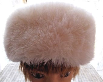Vintage White Russian Faux Fur Hat
