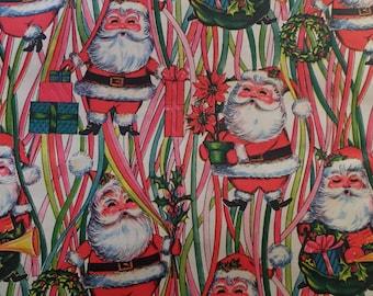 Vintage 1960's Retro Christmas Groovy Santa Toy Sack Gift Wrap Wrapping Paper